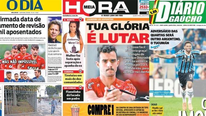 Grémio sofre mas consegue lugar nos  quartos  da Libertadores (capas de 29  de agosto) d5a1bbb2a6fd6