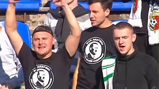 14dcbc520ca5d A vitória do Vorskla Poltava sobre o Desna ficou envolta em polémica. A  divulgação de imagens da claque onde eram visíveis adeptos com t-shirts de  Adolf ...