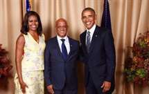 Michelle Obama, Luís Filipe Tavares e Barack Obama (Foto Daniel Almeida)
