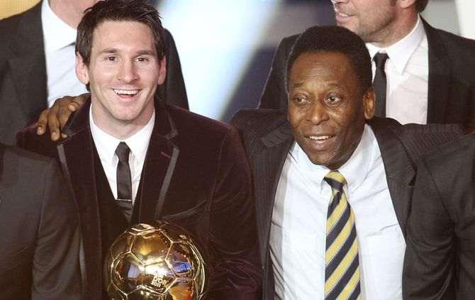 Messi com Pelé (Foto: Michel Probst/AP)