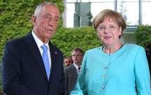 Marcelo Rebelo de Sousa e Angela Merkel (Foto Michael Sohn/AP)