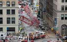 Grua caiu numa rua na baixa de Manhattan, perto da Broadway