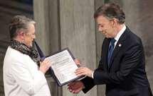 Presidente da Colômbia recebe Nobel da Paz: «Agora há menos uma guerra no mundo»