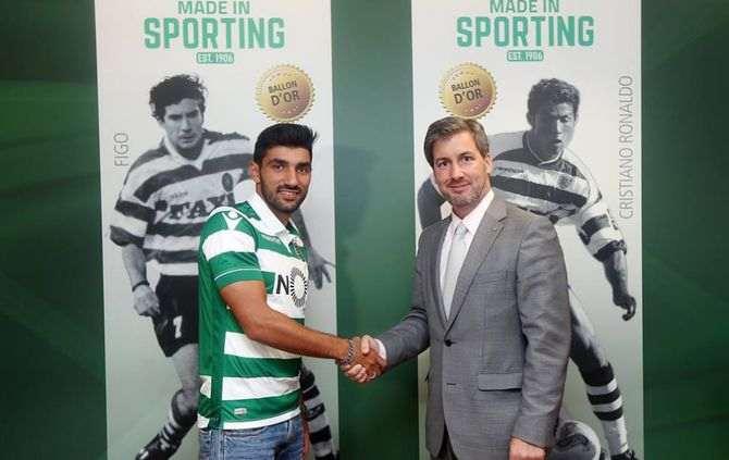 Ricardo Esgaio e Bruno de Carvalho (Foto: Sporting Clube de Portugal)