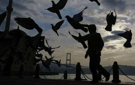 Um homem passa por um grupo de pombos perto da mesquita de Buyuk Mecidiye (Emrah Gurel/AP)