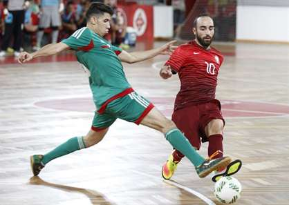 Ricardinho no jogo de Portugal-Marrocos a contar para a preparação do Campeonato do Mundo, no pavilhão da Luz. (António Azevedo/ASF)